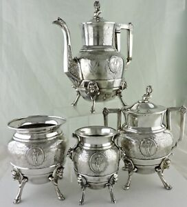 Antique Silver Plate Aesthetic Tea Coffee Set Roman Greek God Medallion Bull