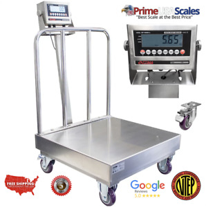 Op 915ssbw Ntep Stainless Steel Washdown Bench Scale With Wheels And Backrail