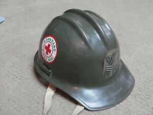 Vintage Bullard Hard Boiled Army Green Military Hard Hat W stickers Sargent 1982