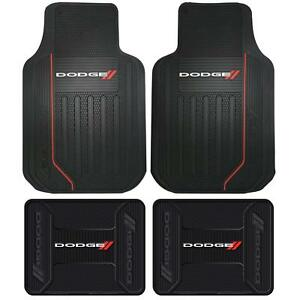 4 Front Rear Dodge Logo Floor Mats Rubber All Weather Factory Liners Black Red