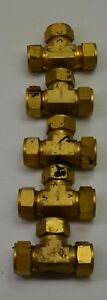 Lot Of 5 Swagelok Holland Brass Compression Fitting Union Tee 25 Mm 1 Od Used