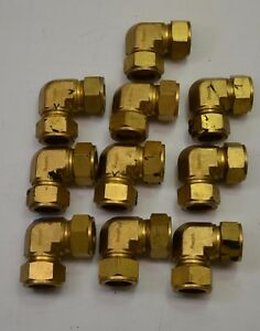 Lot Of 10 Swagelok Holland Brass Compression Fitting 90 Elbows 25 Mm 1 Od Used