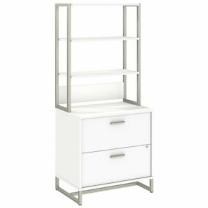 Bbf Method By Kathy Ireland Lateral File Cabinet With Hutch In White