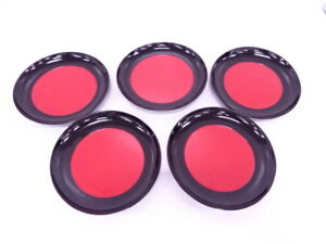 3975287 Japanese Tea Ceremony Black Red Lacquered Serving Plate Set Of 5