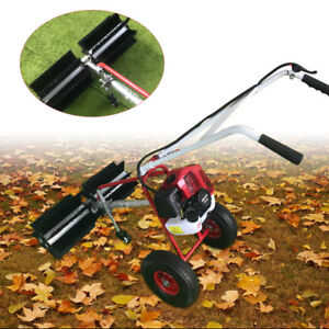 43cc Gas Power Hand Held Walk Behind Sweeper Broom Driveway Walkway Cleaning
