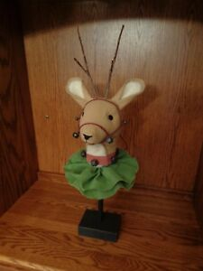 Handmade Primitive Folk Art Santa S Reindeer Doll On Wood Base