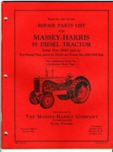 Massey Harris 55 Diesel Tractor Repair Parts List 1952 Form 680 145 M1