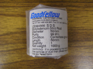 Goodfellow Molybdenum mo 50 Mm X 50 Mm Round Rod 99 9 Purity 1 2 Price