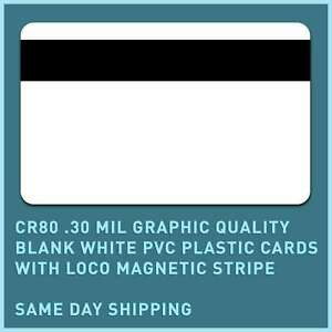 500 X Cr80 30 Mil Graphic Quality Blank White Pvc Cards With Loco Magnet Stripe