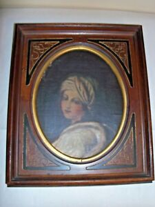 Antique C 1800 S French Wooden Picture Frame Oil Painting Of Victorian Woman