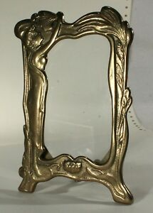 Vintage Art Deco Nouveau Stand Up Ornate Brass Picture Frame Lady With Flowers