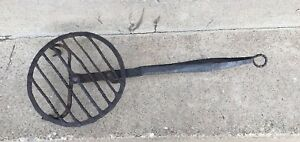 Antique Primitive Hand Forged Wrought Iron Rotating Fireplace Trivet Rat Tail