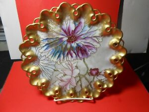 Limoges Reticulated Cabinet Plate Gold Enameled Highlights Outstanding Look Wow