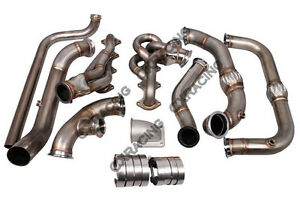 Cxracing Exhaust Turbo Manifold Header Downpipe For 09 14 Ford F150 F 150 5 4l