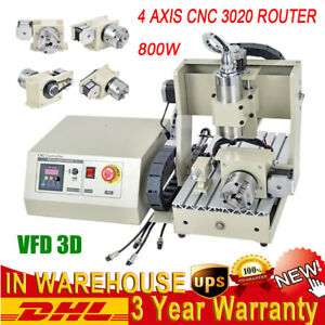 Desktop Cnc Router 3020 4 Axis Engraver Engraving Drilling Milling Machine 800w