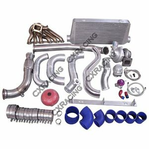 Cx Turbo Kit Manifold Intercooler Downpipe For 86 92 Supra Mk3 2jz gte 2jzgte