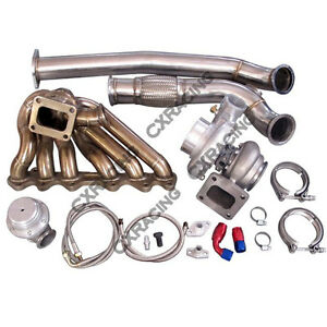 Cxracing Turbo Manifold Downpipe Oil Line Kit For 86 92 Supra Mk3 2jz gte 2jzgte