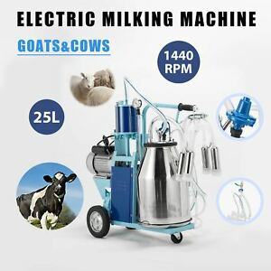 25l Electric Milker Milking Machine For Goats Cows W Bucket 2 Plug 12 Cows hour