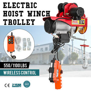 Electric Wire Rope Hoist W Trolley 40ft 550 1100lb Automatic Overhead 1000w