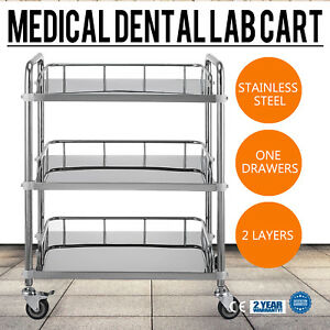 1pc Stainless Steel Portable 3 Layers Serving Medical Dental Lab Cart Trolley Yr