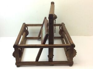 Antique Primitive Old Mystery Farm Tool Roller Thresher Unusual Seat Wood