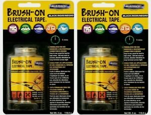 2 Blue Magic Brush on Electrical Tape Flexible Rubber Quick Dry Waterproof 4 Oz