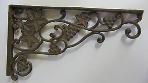 Vintage Cast Iron Plant Hanger Grapes Leaves Dual Sided