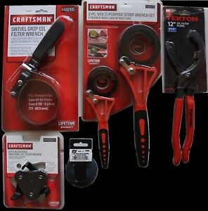 New Lot Of 5 five Oil Filter Wrenches Pliers Strap Craftsman Lisle Tekton