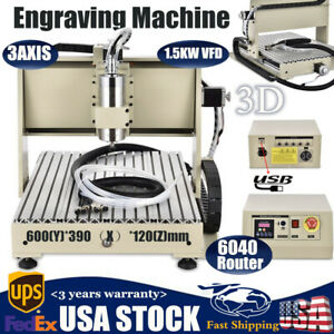 1 5kw Router Engraver Machine Engraving Drilling 3 Axis 6040 Desktop Usb Hot