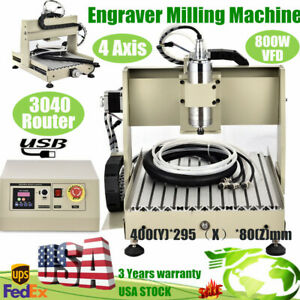 Usb 4 Axis 3040 Cnc Router Engraver Milling Machine Drilling Carving 800w Vfd Us