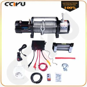 Cciyu 12v 12000lbs Electric Winch Towing Steel Cable Off Road For 02 10 Hummer