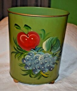 Vtg Plymouth Tole Hand Painted Trash Can Waste Basket Apple Grapes Fruit