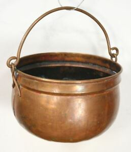 Antique Copper Pot Cauldron Hand Hammered Dovetail Round Bottom Hanging