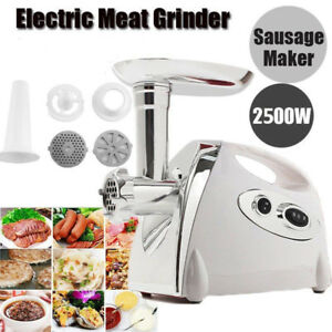 Heavy Duty 2500w Electric Meat Grinder Sausage Stuffer 4 Cutting Plates Sw