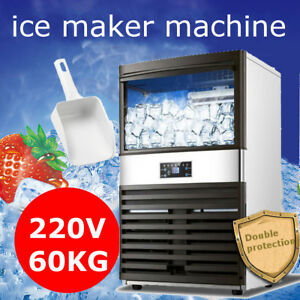130lbs Commercial Ice Cube Maker Machine Stainless Steel Frozen Bar 350w Us 220v