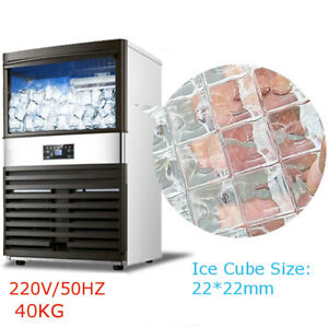 90lb Auto Commercial Ice Cube Maker Stainless Steel Machine Undercounter 300w Us