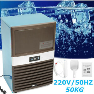 110lbs 220v Commercial Ice Cube Maker Machine Stainless Steel Frozen Bar 300w Us