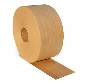 100 Rolls 3 X 450 Ft Reinforced Kraft Gummed Paper Tape Brown Industrial Grade