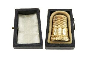 Antique 19th Century 14k Yellow Gold Sewing Thimble W Original Fitted Box