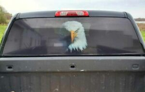 American Eagle Black Pick Up Truck Rear Window Graphic Decal Perforated Vinyl