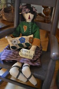 New Primitive Country Ruby Fabric Doll With Flower Pillow Home Decor 23 Long