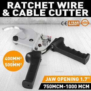 Ratcheting 1000 Mcm Wire Cable Cutter Electrical Tool Compact Light Extended