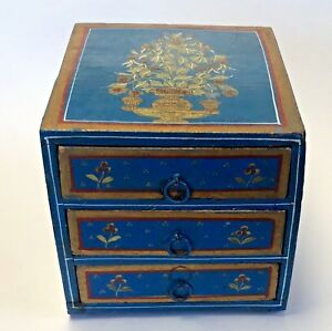 Antique Wood Jewelry Trinket Box 3 Drawers Painted Blue Gold Flowers Primitive