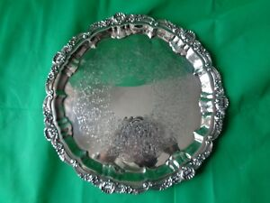 Vintage Poole Footed Silverplate Round Tray 3216 16