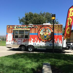 2015 8 X 20 Bbq Concession Trailer With Porch For Sale In California