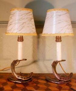 2x Vintage Retro French Horseshoe Riding Cowboy Light Table Lamps Shades