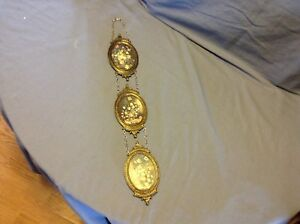 3 Vintage Small Ornate Italian Oval Brass Framed Pictures Photos Chains Italy