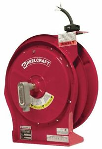 Reelcraft Red Retractable Cord Reel 16 Max Amps Cord Ending Flying Lead 50