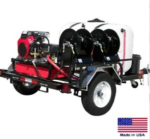 Pressure Washer Commercial Trailer Mounted 8 Gpm 3500 Psi 24 Hp Honda