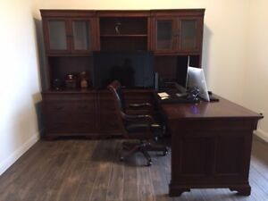 Executive Office Desk Set With Book Shelf And Chair